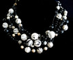 """#AN34 Make an Impression wearing this  ChunkyChoker  that will Fill in Any Neckline. Chunky and  Hand Made Using Dramatic Black and White Marbelized Beads of all Sizes,  Shining Black and Silver Beads it makes a Fashion Statement. Price $158. Length 17"""" or 18"""" but can be custom made to fit your specifications for an extra charge."""