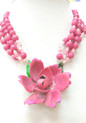 """#BN72 Dramatic and Fabulous Vivid Pink Hand Painted (on lightweight metal )Rose hanging on Multi Strands of Faceted matching Pink and Crystal .  One-of-a-kind indeed  Price $155 length 18"""" Available in custom size to fit your needs for an extra charge"""