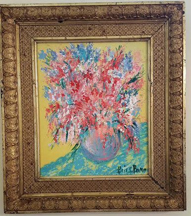 """Painting """"Vase of Flowers on Printed Cloth""""  Acrylic paint size 15 1/2 x 17 1/2 (PA1)"""