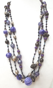"""#AN77    LONG HANDMADE MULTI STRANDS OF VIBRANT PURPLE, BLACK, SILVER, AND PEWTER  $95.  MEASURES 30"""" LONG BUT AVAILABLE IN CUSTOM SIZE FOR AN EXTRA CHARGE"""
