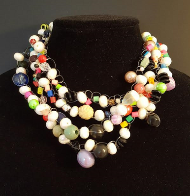 #AN26 Fun Fun Fun Hand Crochet Necklace with Bold Multi Colors Make a wonderful Statement and Brighten up Any Outfit. 18in. $155  or custom length for an extra charge