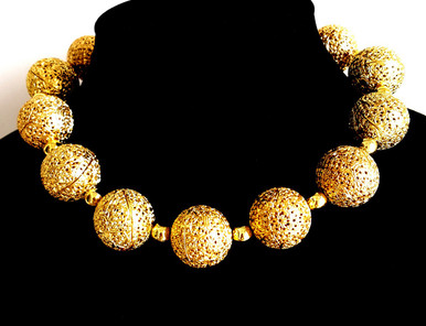 """#AN64  Bold and Dramatic and yet lightweight,  this Large Gold Filigree Choker Makes a Real Fashion Statement ! Price: $155. length: 18""""  Available in custom size to fit your needs for an extra charge"""