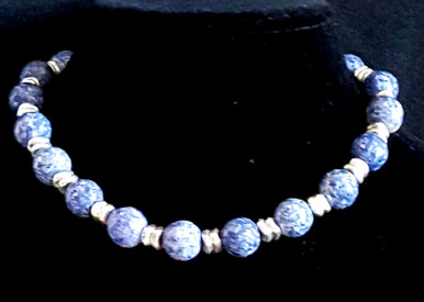 """#AN28 Classic necklace handmade by designer Lois Becker offered in unusual semi -precious Denim Blue Fossil Stone with Silver accents  price: $65. length 16"""" or 18"""", please specify.  Available in custom size to fit your needs for a slight extra charge. I can make an earring to go with this upon request."""