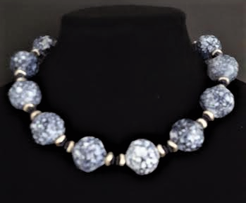 #AN55 The perfect Necklace for all seasons .Large dappled Blue with Navy and Silver Accents . Wear it with jeans, to the office or out for dinner, It will take you everywhere.  Price $65. length 17 or 18 inches ( please specify when ordering)  Available in custom size to fit your needs for a slight extra charge