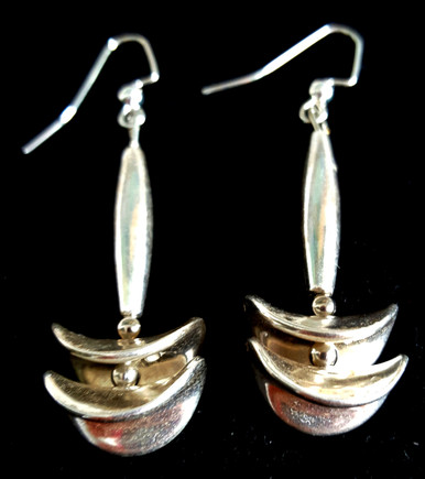 """#A91 Stunning 2""""  Long Sculptural Silver Earring with lots of Pizzaz Price $35. All Earrings are available in Post, Wire, or Clip on"""
