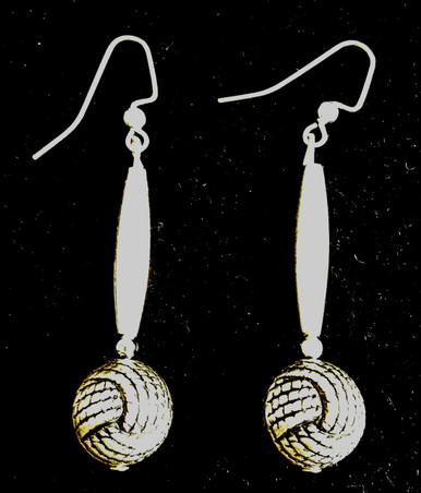 """#A100 Earrings Dramatic Long Silver Earrings With Interesting Twisted and Textured Etched ball at the end of an oblong cylinder Price:$35. 2"""" long    All Earrings are available in Post, Wire, or Clip on"""