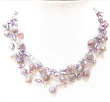 """#AN43   Delicate and Lady-Like Multiple strands of  Frosted Mauve  Beads with Lavender  Pearls hand crocheted  by jewelry artist Lois Becker  $158. 18"""" long but available in custom length for an additional charge."""
