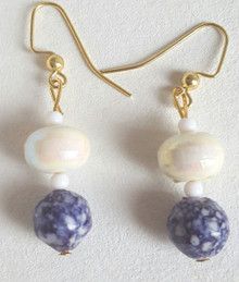 #B27 Earrings Speckled Blue with Pearlized White Lacquer Beads $25. Available in post, wire or clip on