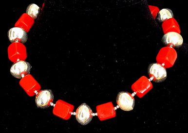 """#CN18  Fun, Fun, Fun Bright Large Silver Beads with Vivid Red Plastic Beads make a Wonderful Statement against any color in your wardrobe..18 """" $55. May be custom ordered in preferred size for additional charge"""