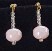 """#B39  Very Delicate colored Pale Pink Lacquer Bead with tiny crystal embellishments 1 3/4 """" long $25. May be ordered in wire, post or clip on"""