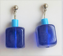 #A57 Royal Blue Earring with Turquoise Accent Price $20. Available in Post, Wire or clip on