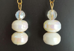 #A82 Double White Lacquer Earring with Faceted Crystal , light weight and lovely $25.  Available in post, wire or clip on