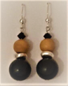#B50 BLACK, SILVER, WOOD EARRINGS TO MATCH $20. Available in Post, Wire or Clip on