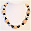 "#AN7   A Great Fashion look for Casual or Evening: Wood, Black and Silver $52. Length 18"" or may be ordered in another length for a small additional charge."