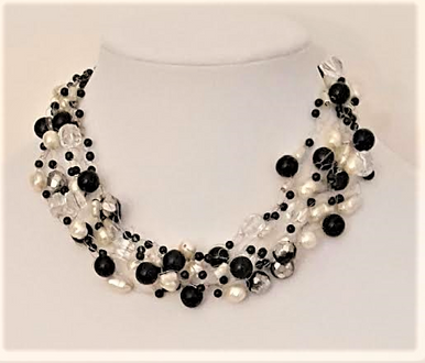 "#CN30 Hand Crocheted Multiple Strands of White Pearls, Black and Crystal $125 18"" but may be custom ordered for an additional charge"