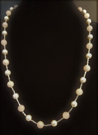 #AN14 Elegant Classic Single Strand of White Pearls and Semi-Precious Rose Quartz $85.  Length 29""