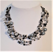 #AN35  Multiple Strands of Hand-Crocheted Gray Pearls and Onyx Chips Make an Elegant Statement $155.