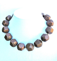 "#AN30 Large Chunky Bronze Necklace Makes a Statement and Fills in the Neckline 18"" or 20"" S68."