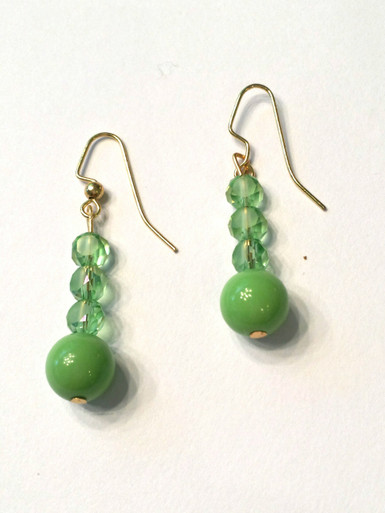 #A28 Lime Green Earrings with Czech Crystal $25. Available in Wire, Post or Clip