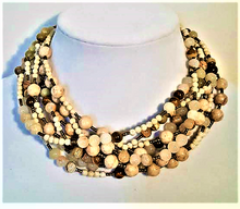 """#AN42 A Great Neutral Accessory for your Wardrobe is this Hand-Made  Necklace with Multiple Strands of Beige Semi-Precious Agates and Fossil Stone $165.  18"""" LONG, I can make this a custom length for an additional charge."""