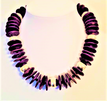 """#AN17 Bold Purple Wood and Bright Silver Necklace Fills in a Bare Neckline Perfectly $50. 18 OR 20""""  inches long but available in custom size for a slight extra charge. PLEASE specify length you prefer."""