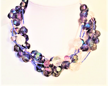 #AN46 Multiple strands of Translucent Purple Beads with Frosted Faux Crystal and Pearls 18 inches $98.