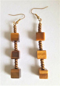 "#A13 Unusual Square Cut 3 "" Long Semi-Precious  Tiger Eye Earrings.  Available in Post, wire, or clip on. $45."