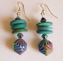 #A04 Iridescent Green Drop  with Wood Earring$25. Available in wire, post or clip on