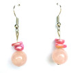 #A15 EARRINGS ROSE QUARTZ WITH HOT PINK ELLIPTICAL PEARLS . $25.   GOES WITH    #AN7 NECKLACE,  Available in wire, post or clip, specify when ordering