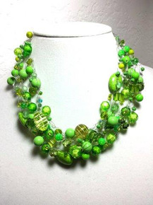 "#AN27 Bright and Cheerful Lime Green Hand-Crochet Necklace with a wonderful variety of  interesting beads $158.   18"" LONG  BUT MAY BE CUSTOM MADE TO FIT FOR A SLIGHT ADDITIONAL CHARGE"