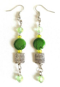BEAUTIFUL LONG EARRING MADE WITH DELICATE ETCHED SILVER AND GREEN MOTHER OF PEARL