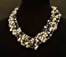 """#AAN3 HAND CROCHET NECKLACE WITH LIGHT GRAY FOSSIL S TONE, ONYX AND SILVER ACCENTS. PRICE: $155.  18"""" LONG OR MAY BE SPECIAL ORDERED IN YOUR PREFERRED SIZE."""