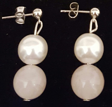 #A14  Beautiful  Earrings handmade by jewelry artist Lois Becker : Semi-Precious  Rose Quartz and Lustrous White Pearl... Pure Beauty $25.Available in wire, post, or clip on