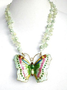 """#AN44 STUNNING ONE OF A KIND CLOISONNE BUTTERFLY ON A DOUBLE STRAND OF AQUAMARINE AND AQUA PEARLS $158. 20"""" LONG, AVAILABLE IN CUSTOM LENGTH FOR AN EXTRA CHARGE"""