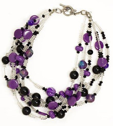 "#BN3 BRIGHT MULTIPLE STRANDS OF ASSORTED PURPLE BEADS $98. 18"". MAY BE ORDERED IN CUSTOM SIZE FOR A SLIGHT ADDITIONAL CHARGE."