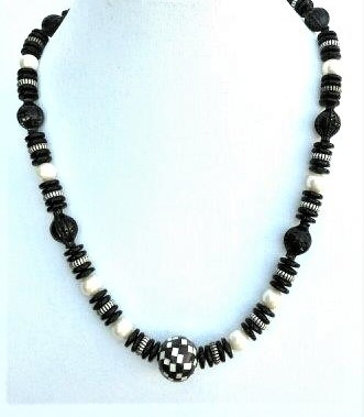 "#BN9 LONG BLACK AND WHITE NECKLACE $58.  MAY BE ORDERED IN 24"" OR CUSTOM ORDERED IN A CUSTOM LENGTH FOR A SLIGHT ADDITIONAL CHARGE"