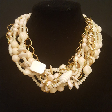 "AN85  ONE-OF-A-KIND STATEMENT NECKLACE MULTIPLE STRANDS OF ASSORTED BONE CREAMY WHITE BEADS WRAPPED AROUND A GOLD CHAIN $165..  MEASURES 20"" BUT IS AVAILABLE FOR CUSTOM SIZE FOR AN ADDITIONAL COST."
