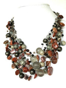 "#AN76  DRAMATIC ONE-OF-A-KIND STATEMENT NECKLACE  HAND CROCHET  ASSORTED  GRAY AND SEMI-PRECIOUS JASPER $185. 19"" LONG BUT MAY BE ORDERED IN CUSTOM SIZE FOR AN EXTRA CHARGE."