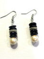 #A53 Earrings Smart looking shinny Black with Creamy White Pearl and a touch of silver $25.. Available in wire, post or clip on