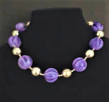 "#AN65 Large Vibrant Purple and Silver beads  Length 18 ""  Price: $65.  Available in custom size to fit your needs for an extra charge"