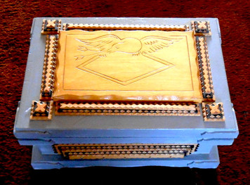 Light Blue-Grey TRAMP ART BOX by Geo G Borum