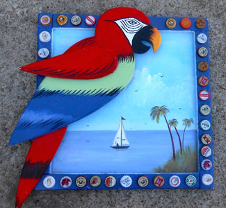 PARROT HEAD SPECIAL - Sailboat - Palm Trees by George Borum
