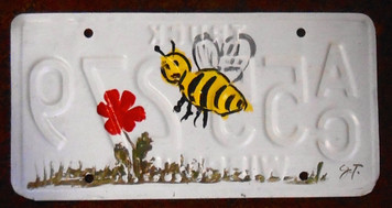 BEE & FLOWERS License Plate by John Taylor