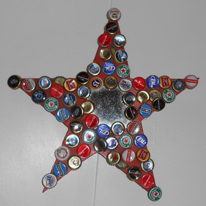 WOOD STAR with MIRROR and Bottle Caps by Pops Casey