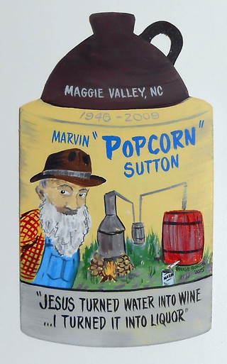 Popcorn Sutton Moonshine Jug Wall Plaque By George Borum