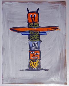 TOTEM POLE on Cardboard by Otto Schneider