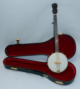 "MINIATURE BANJO and CASE - 10"" Long"