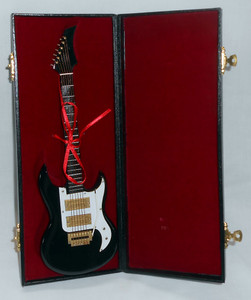 "MINIATURE BLACK ELECTRIC GUITAR and CASE - 10"" Long"