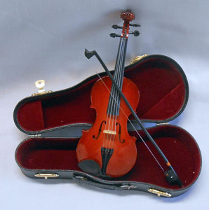 "MINIATURE VIOLIN and CASE - 8"" long"