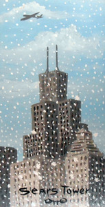 SEARS TOWER in a Snowstorm - Otto Schneider - Chicago Street Artist